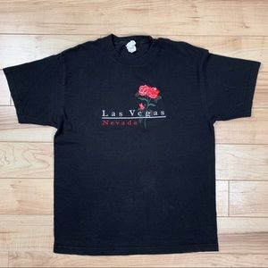 Vintage Las Vegas T-Shirt w/ Rose Embroidery